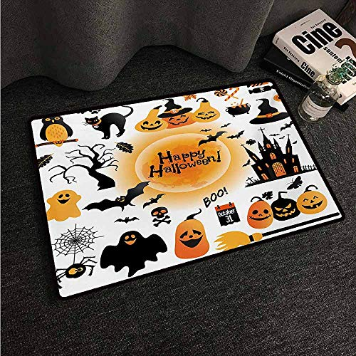 HCCJLCKS Door mat Customization Halloween All Hallows Day Objects Haunted House Owl and Trick or Treat Candy Black Cat Suitable for Outdoor and Indoor use W16 xL24 Orange Black