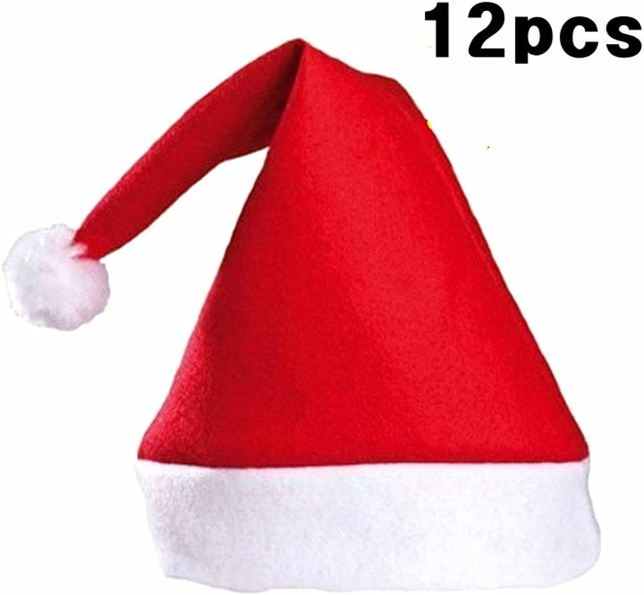 Kinteshun Christmas Santa Hat Economical Felt Santa Claus Cap Xmas Hat 12pcs,One Size Fit All,Upgraded The Size /& Material in 2018