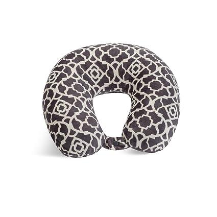 World's Best Feather Soft Microfiber Neck Pillow, Charcoal Trellis