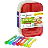 Meal Prepster - 3 Compartment Plastic Reusable Bento Lunch Box with (Easy to Remove) Colored Lids, BPA-Free (Set of 7 + 7 Bonus Sporks)