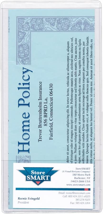 StoreSMART - Brochure Holder with Business Card Pocket - Clear Vinyl Plastic - 25 Pack - 8 3/4