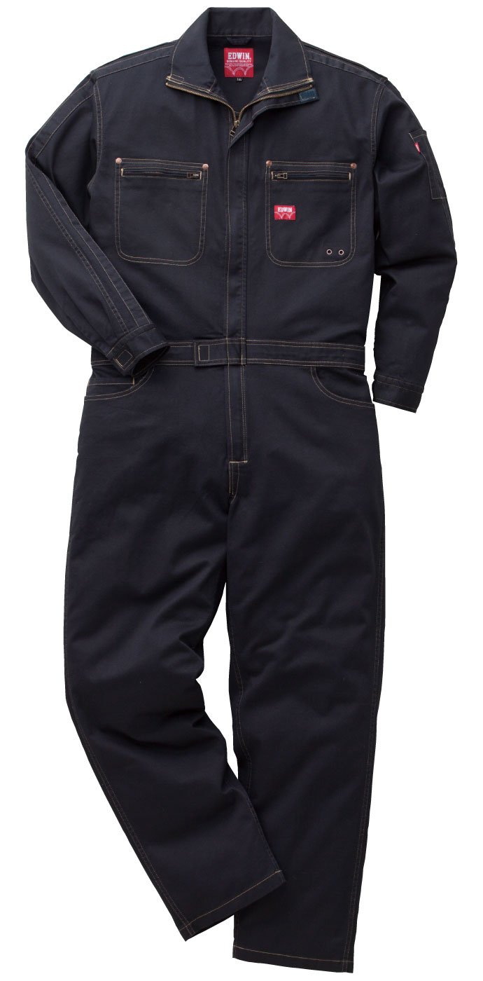 EDWIN(エドウイン) つなぎ オールインワン ストレッチ 綿ウォッシュ加工 EDWIN-81000 B073VNV5SH S|ブラック