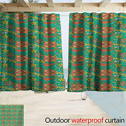 Zmcongz Colorful Indoor/Outdoor Curtains Doodle Style Fantastic Flower Drawing with Stripes and Dots Cartoony Nature Design Insulated with Grommet Curtains for Bedroom W63 xL72 Multicolor ()