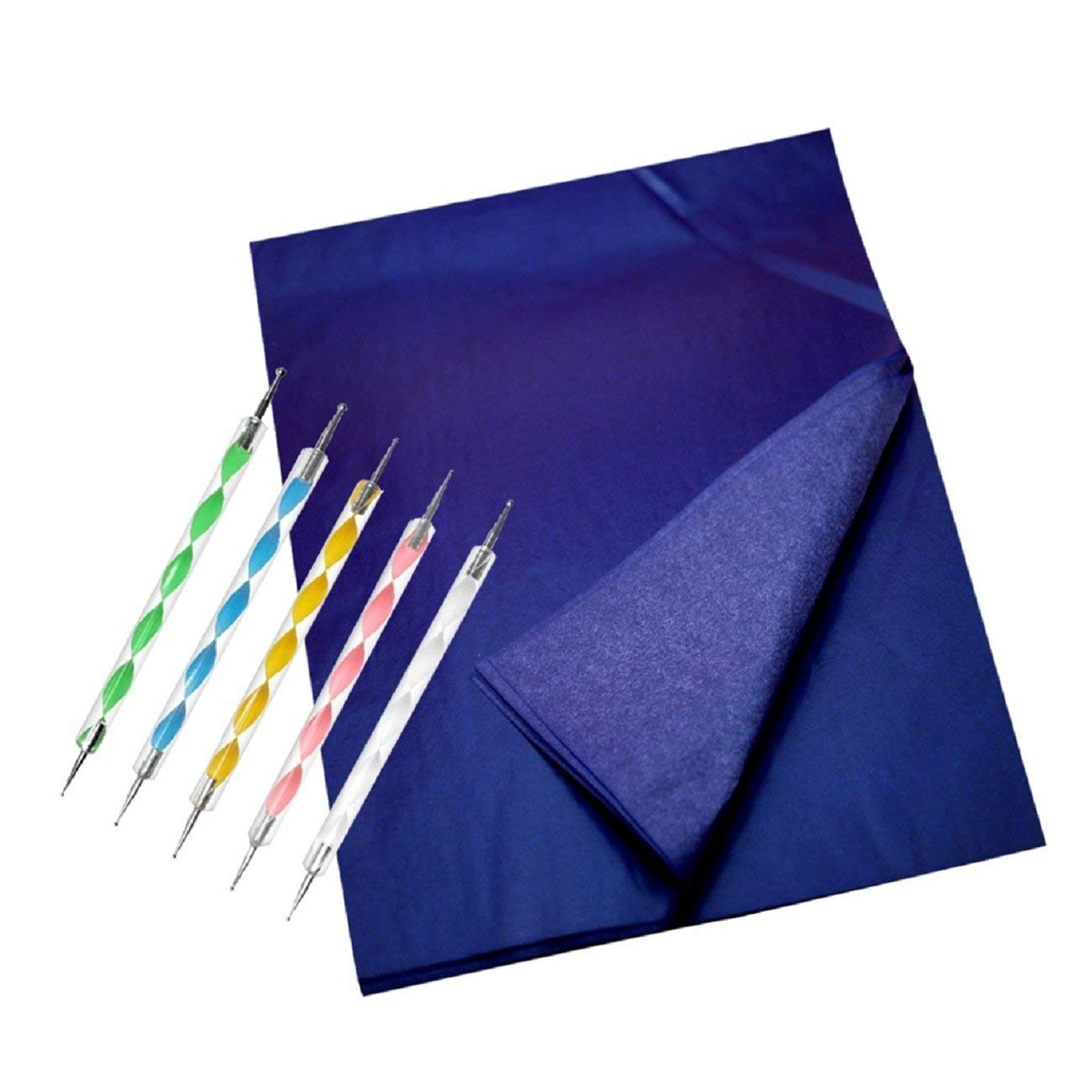 Putars Multicolor 200 Carbon Blue Transfer Tracing Drawings and 5 Ball Embossing Pens Printing Paper Convenience DIY Design