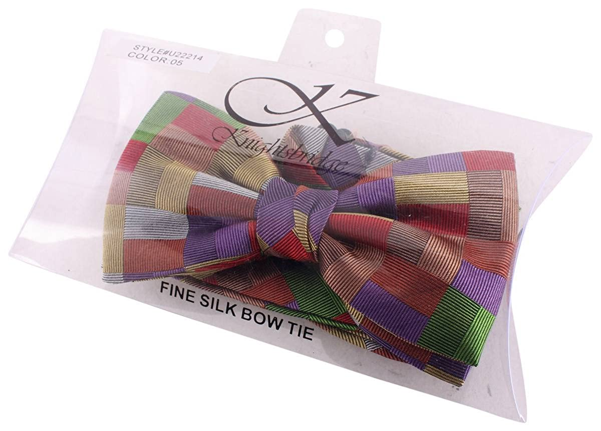 Multi-colour Knightsbridge Neckwear Mens Squares Silk Bow Tie