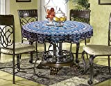 Miyanbazaz Textiles Traditional Mandala Animal Art Design Round Table Cover Navy Blue Multi