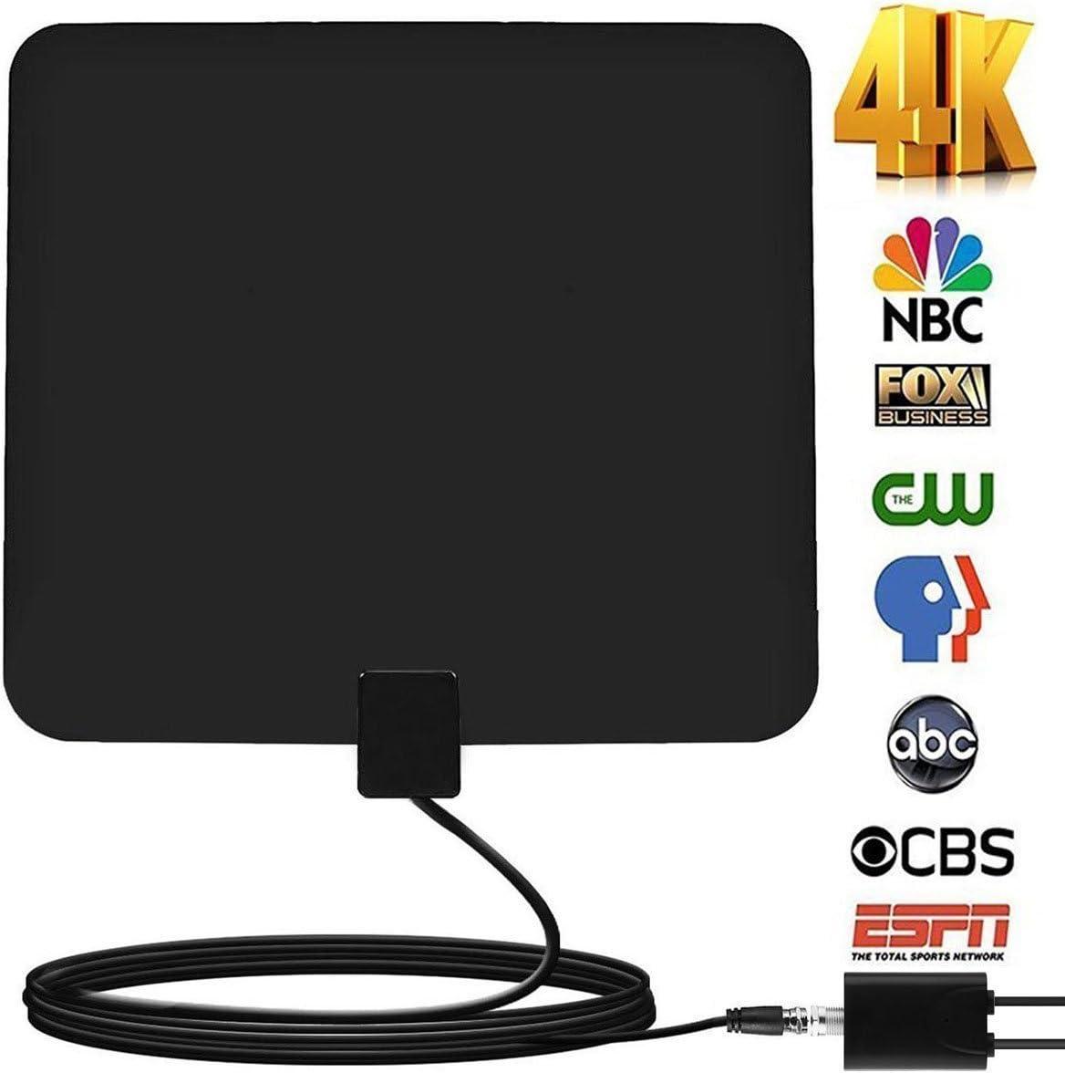 OKAONE Antena HDTV para Interiores 2019 Antena de TV Digital actualizada de 50 a 85 Millas de Largo Alcance con Amplificador de señal para Canales de TV 1080P 4K, Cable coaxial Amplificado