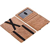 ZhaoCo Vera Pelle Portafoglio Magico, Protezione RFID Sottile Minimalista Mini Bifold Portafoglio Regalo, Tasca Frontale Porta Carte di Credito e Denaro con Finestra di Identificazione