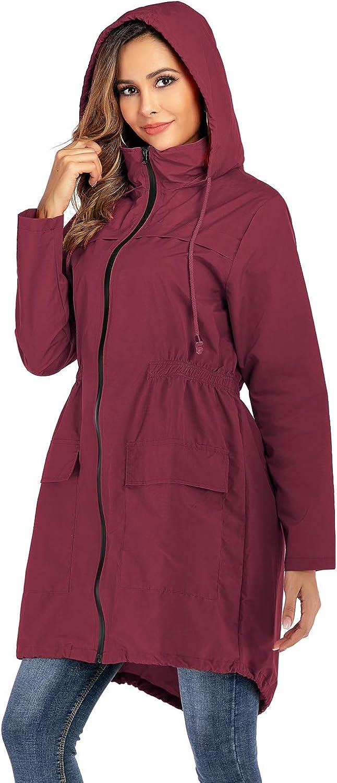 IKWOLETI Womens Waterproof Raincoat Windbreaker Lightweight Active Outdoor Hooded Rain Jacket
