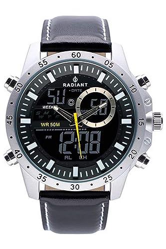 Radiant Dennis Reloj para Hombre Analógico/Digital de Cuarzo con Brazalete de Piel de Vaca RA485701: Amazon.es: Relojes