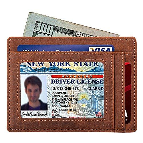 Mens Slim Wallet RFID Front Pocket Wallet Minimalist Secure Credit Card Holder (Napa Leather Magnetic Money Clip)