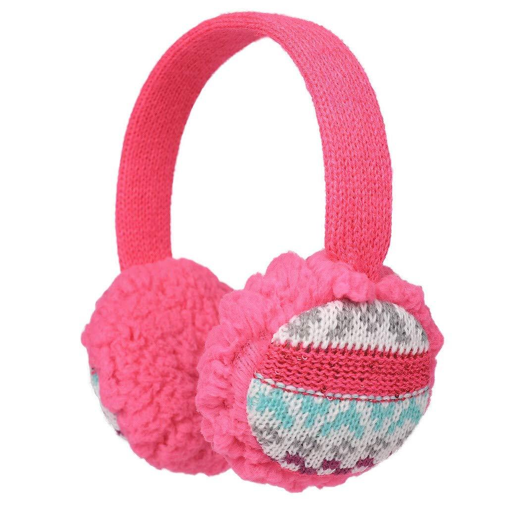 Baby Childs Cartoon Earmuffs.ZYooh Kintting Classic Warm Foldable Earmuffs with Fur Earwarmer Outdoor Earmuffs Headwear (Hot Pink)