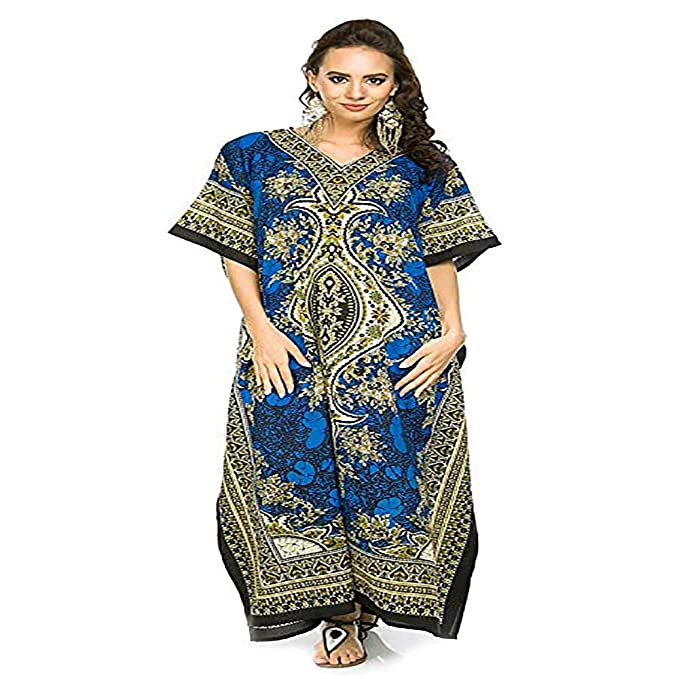 7eea662341 Image Unavailable. Image not available for. Color: Divine India Kaftan  Tunic Kimono Dress Ladies Summer Women Evening Maxi Party Plus Size Women  Casual
