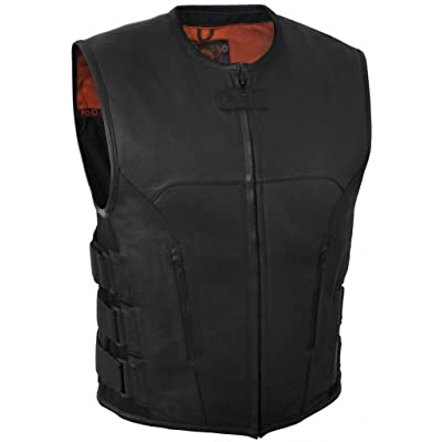 True Element Mens Swat Team Style Leather Motorcycle Vest with Side Size Adjustment (Black, X-Large): Automotive