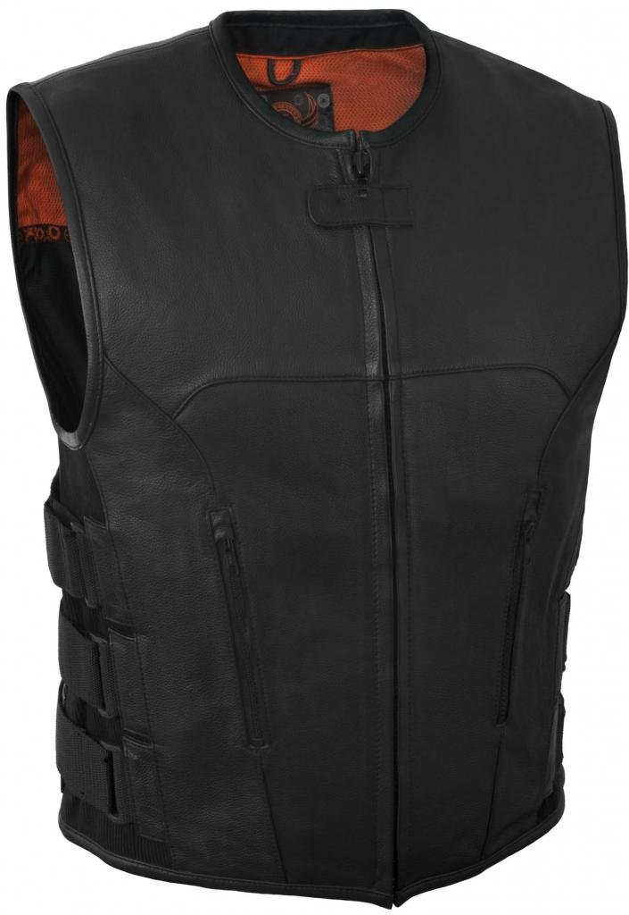 True Element Mens Swat Team Style Leather Motorcycle Vest with Side Size Adjustment (Black, Small)