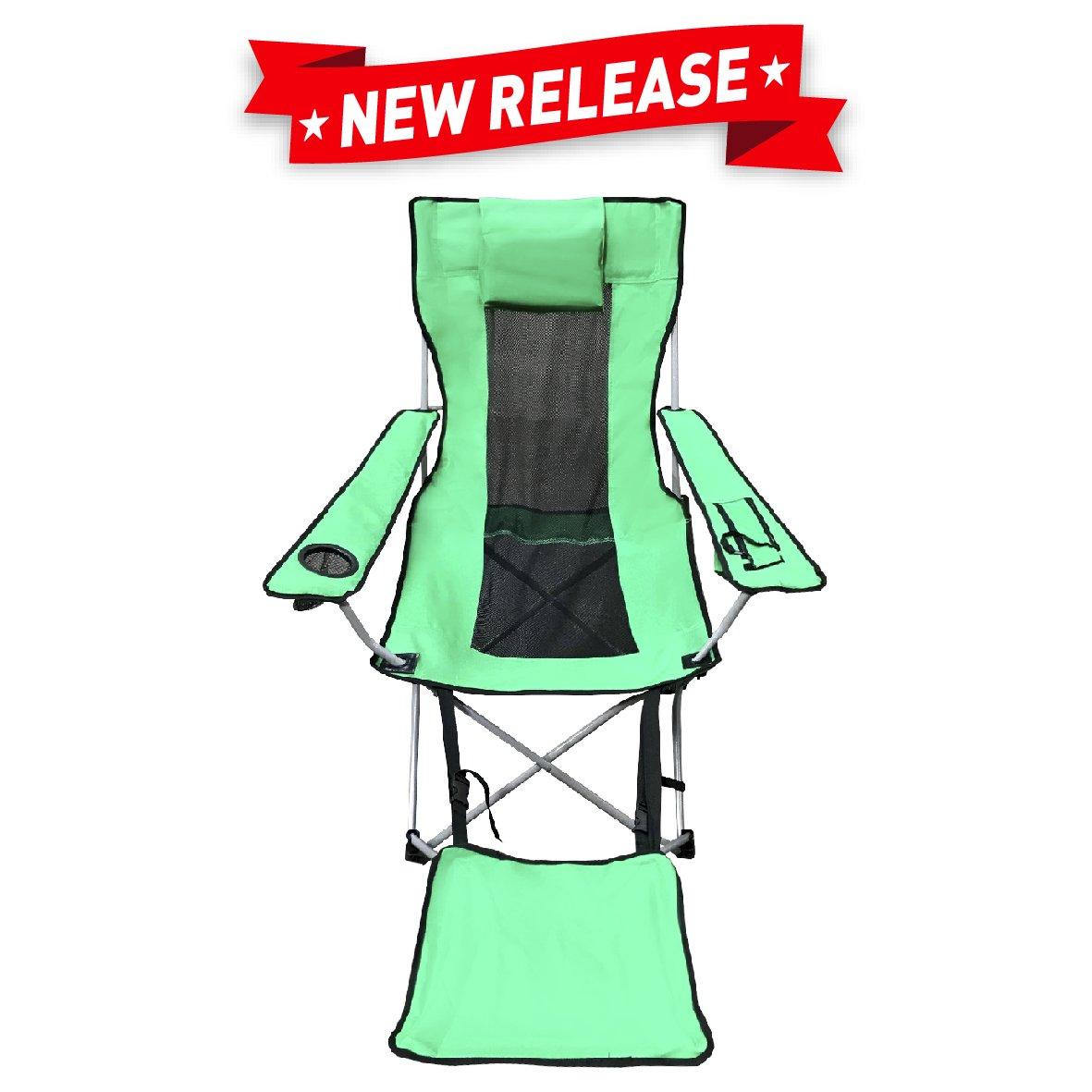 Easygoキャンプ椅子 – 軽量、折りたたみ式、リクライニング脚Restキャンプ椅子 – Camping Chair withフットレスト B0759YHGBM グリーン グリーン