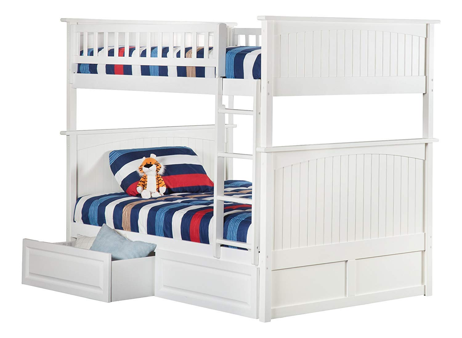 Atlantic Furniture Nantucket Bunk Bed with 2 Raised Panel Bed Drawers, Full Full, White