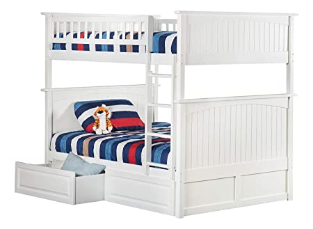 Atlantic Furniture AB59522 Nantucket Bunk Bed with 2 Raised Panel Bed Drawers, Full Full, White