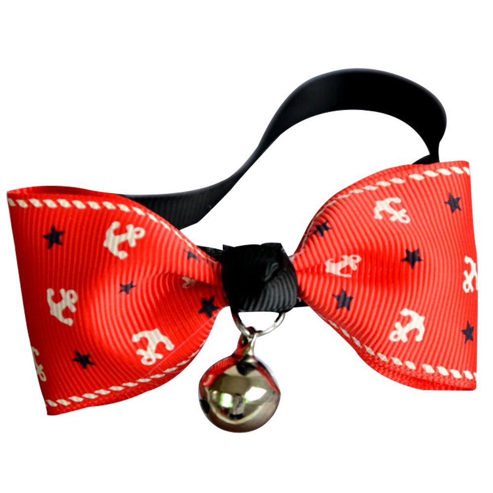 Sanwood Pet Halsband verstellbar Fliege Hund Katze Halsband mit Glocke Breakaway Schnalle Schleife