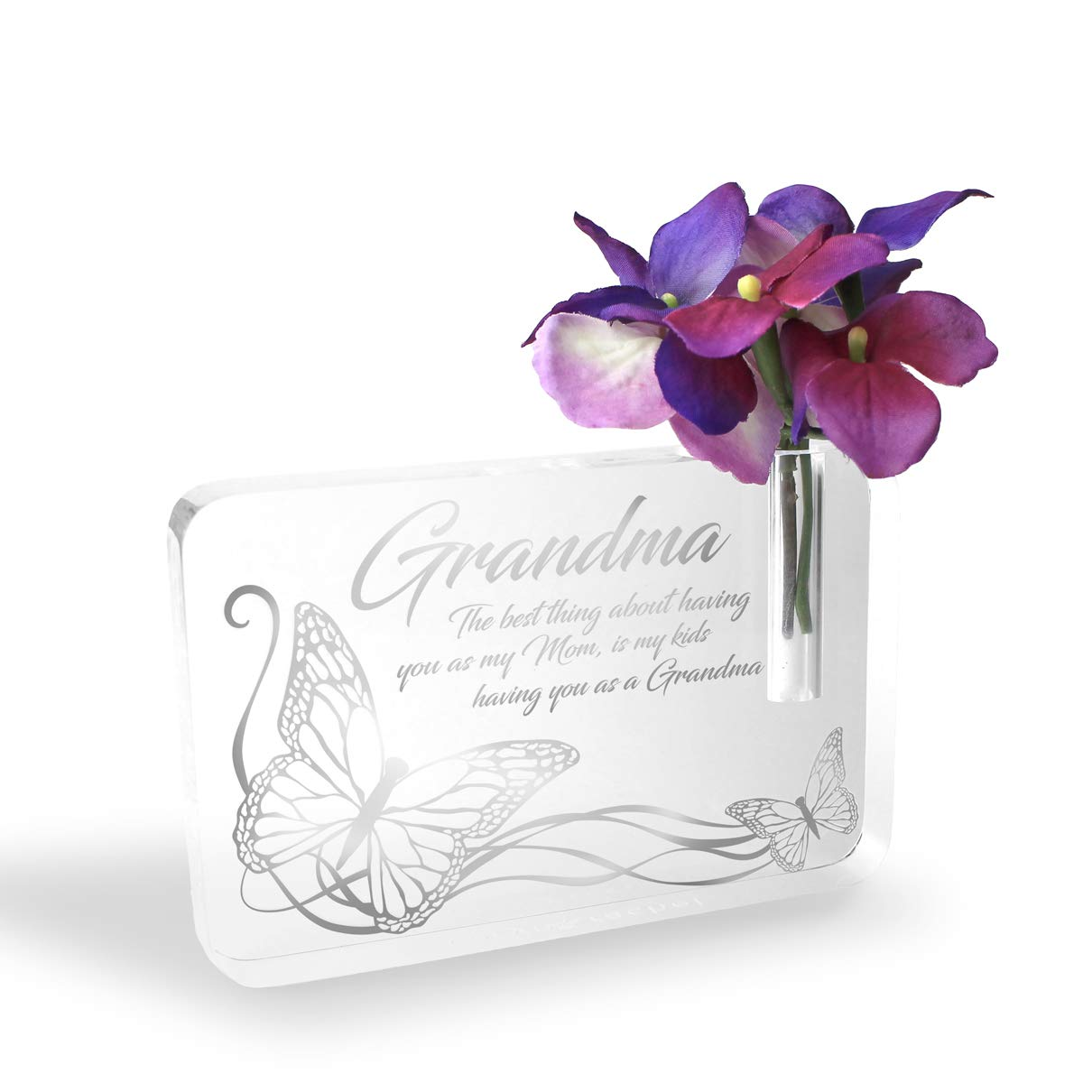 Caryn Rachel Grandma Plaque Bud Vase Engraved Plaque for Grandma for Mothers Day | Quality Crafted Lucite Grandma Decor Gift, A from Daughter with an Engraved Quote and Butterfly Gifts for Women