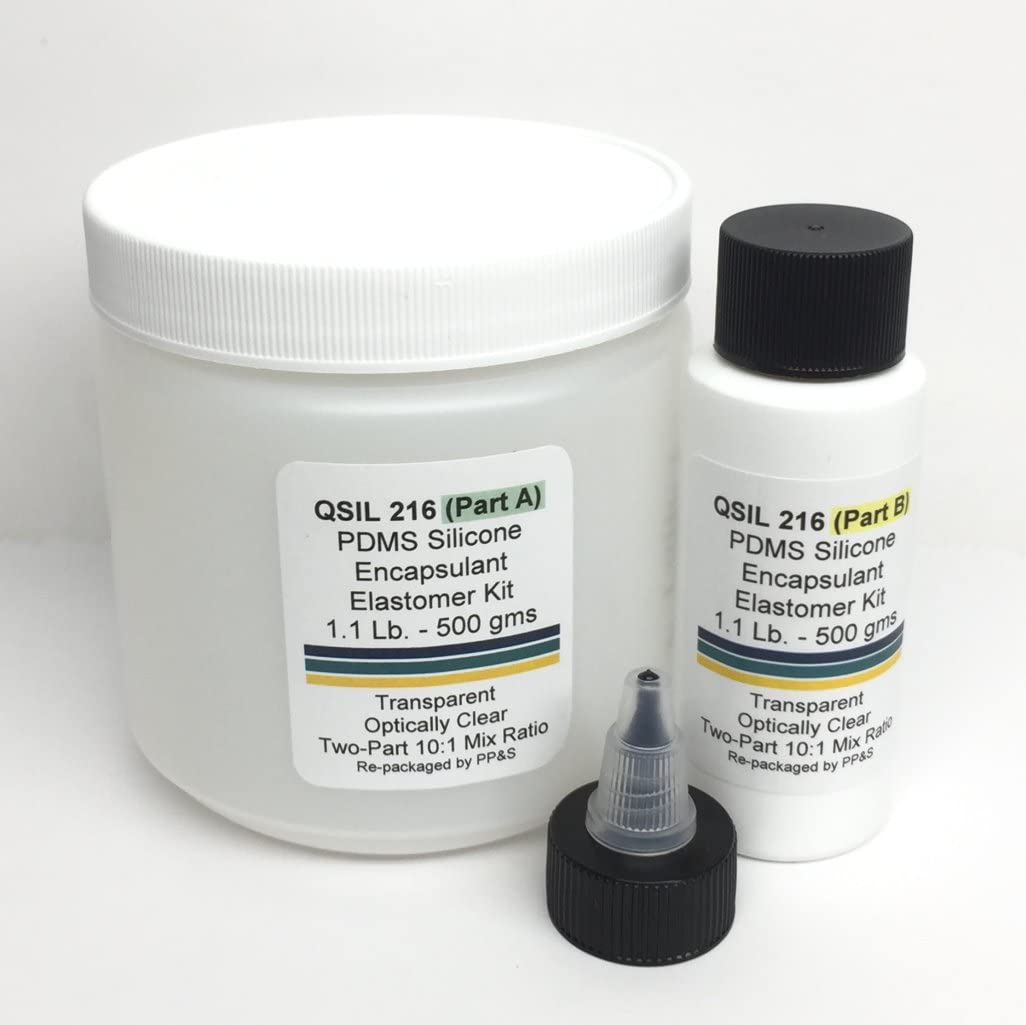 QSIL 216 Clear Liquid Silicone PDMS Elastomer Encapsulant, 1.1 Lb - 500 Gram Kit, Includes Part A Base and Part B Curing Agent, 10:1 Mix Ratio