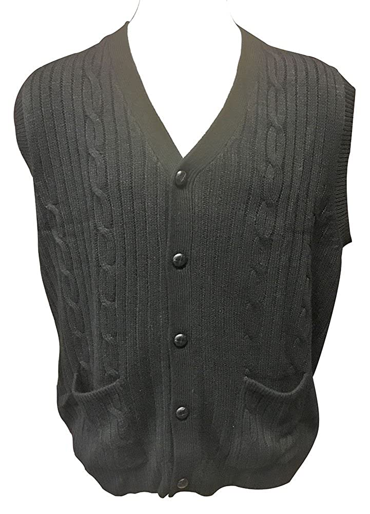 a5c3503d7989c Top3  D Avila 100% Acrylic Big and Tall Sleeveless Cable Knit Cardigan Vests
