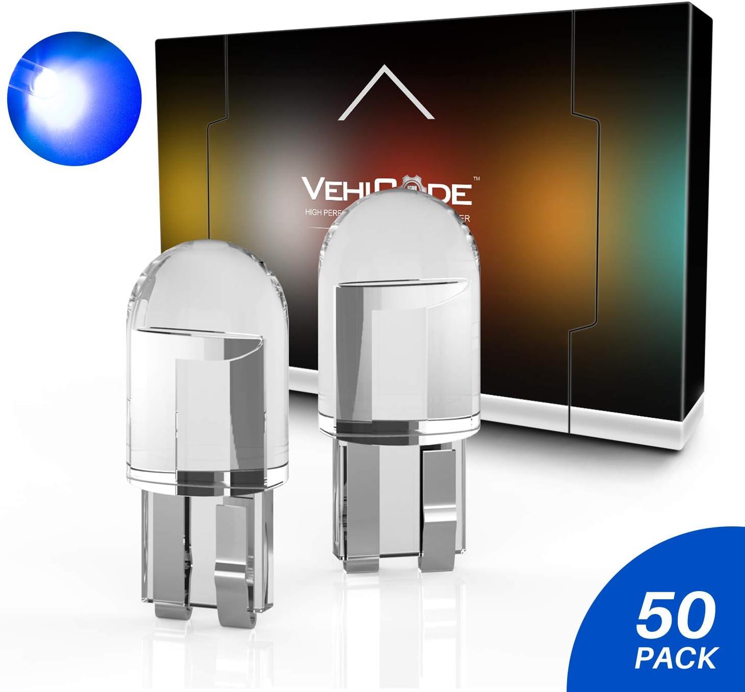 VehiCode 194 168 2825 2827 W5W T10 Wedge LED Bulb Blue 158 160 161 192 Mini Short 12V Lamp for Car Map Dome Trunk License Plate Tag Gauge Dash Panel Parking Marker Outdoor Landscape Light (50 Pack)