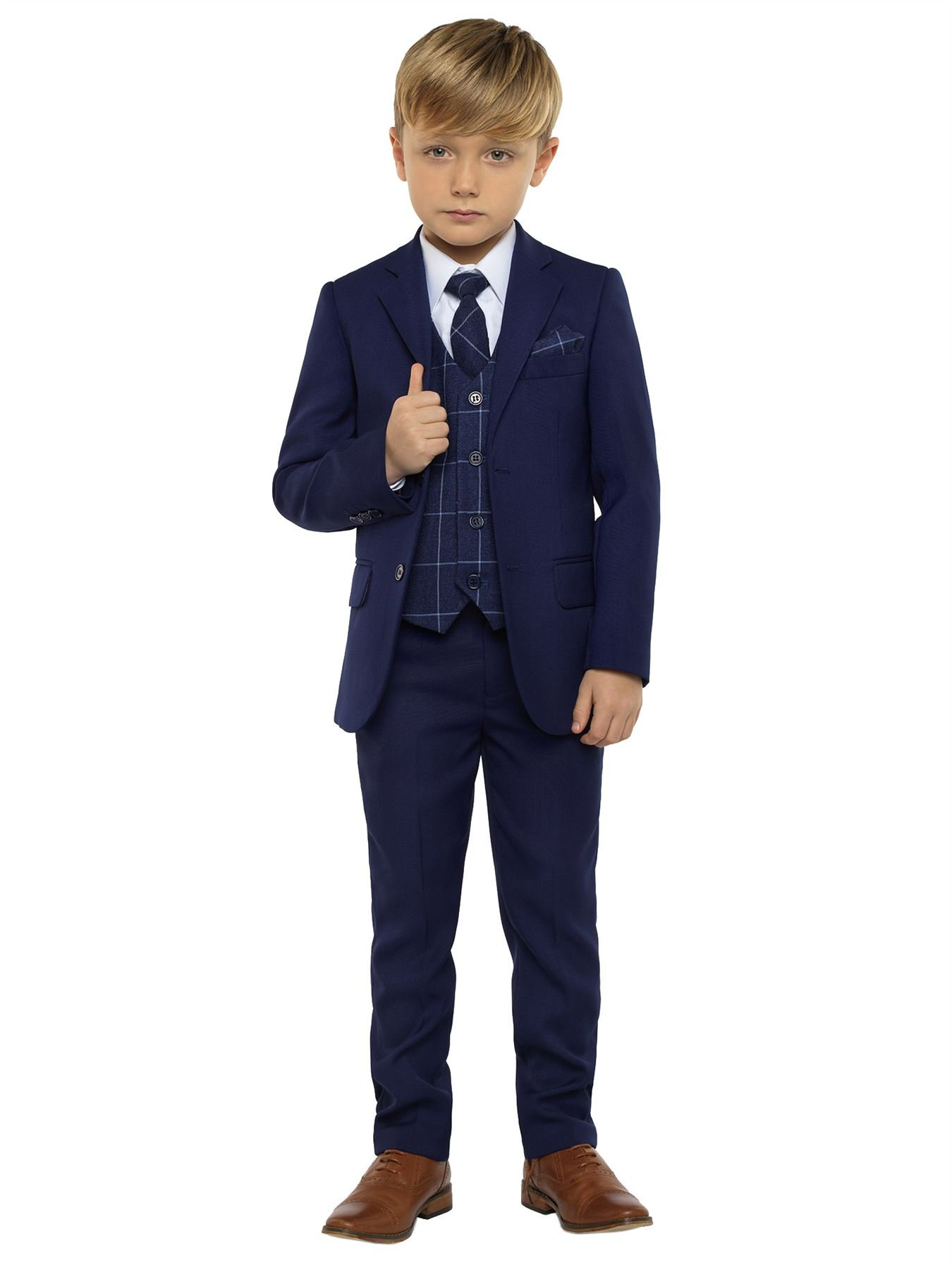 Paisley of London, Kingsman Blue, Boys Slim Fit Ring Bearer Suit with Shirt and Oliver Navy Vest, 10