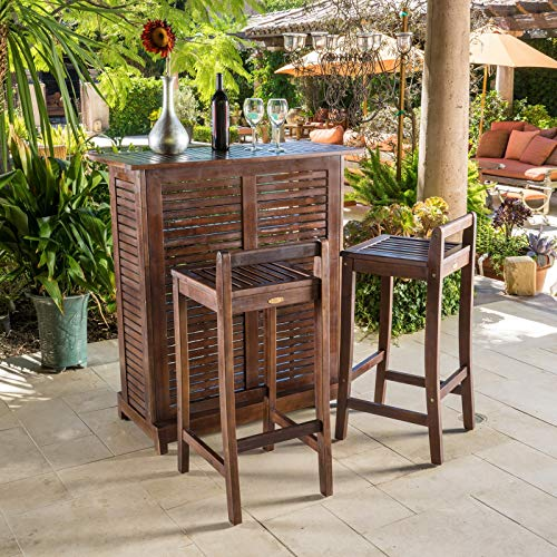 Simple Interior 3 Piece Outdoor Wood Bar Set - Contemporary Home Bar Table and 2 Chairs - Counter Height Bistro Furniture
