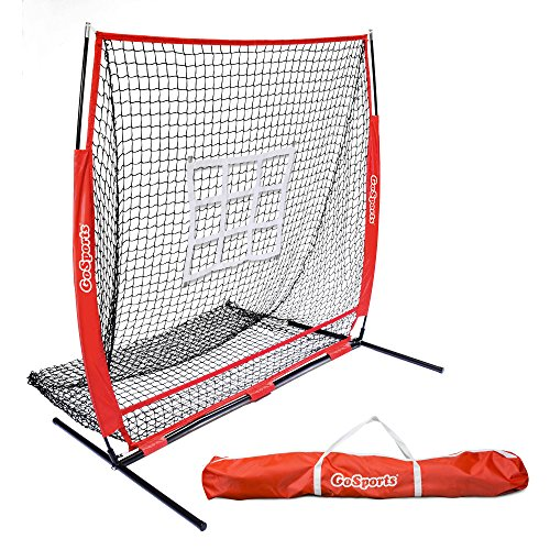 GoSports 5'x5′ Baseball & Softball Practice Pitching & Fielding Net with Bow Frame, Carry Bag and Bonus Strike Zone, Great for all Skill Levels