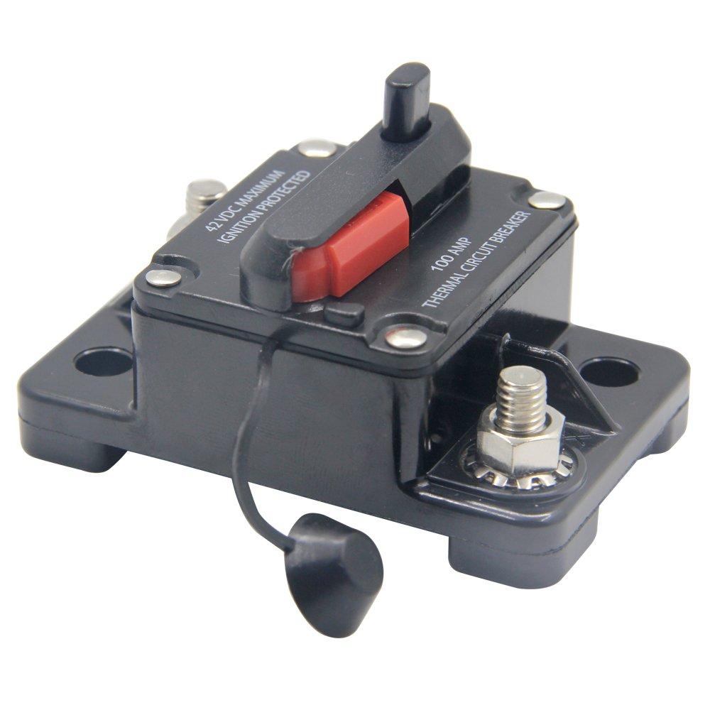 soporte de fusibles para coche automoci/ón barco marino audio 50 Amp RKURCK 12 V 42 V CC 50 A interruptor de circuito de reinicio manual