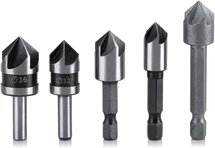 Deburring Tool Bit Countersink Drill Bit Set 82 Degree Steel Countersink High Speed Angle HSS 5 Flutes for Woodworking Chamfering Cutter 5-Pack