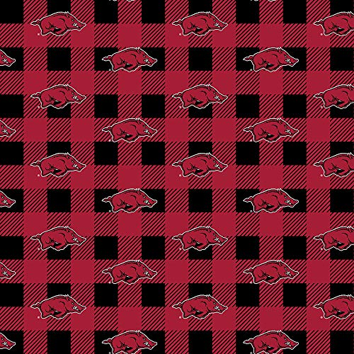 University of Arkansas Fleece Blanket Fabric-Arkansas Razorbacks Fabric with Buffalo Plaid Design