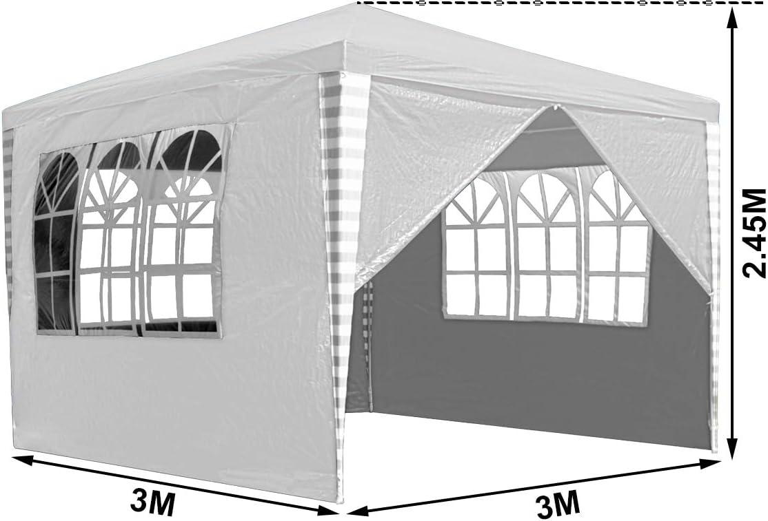 TrendLine Pavillon 3x3 m grün-weiß inkl 2 Seitenteile Gartenpavillon Festzelt