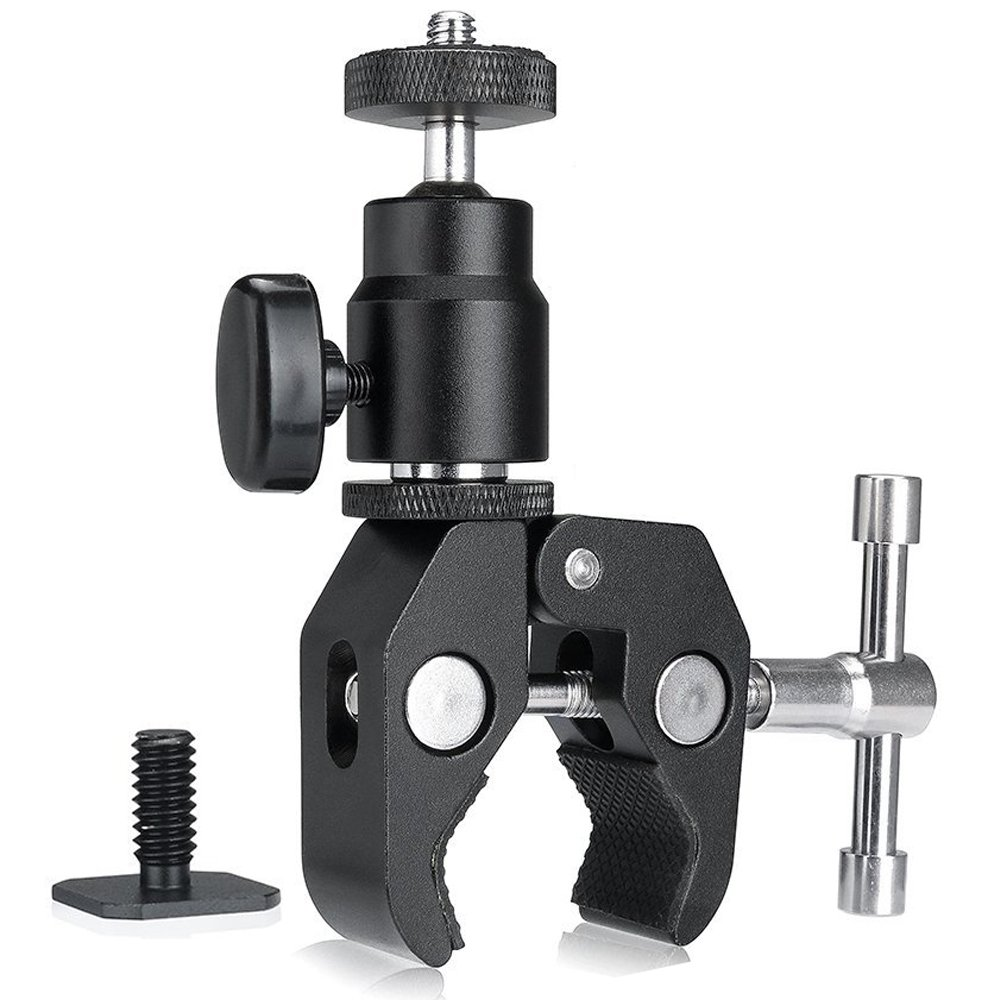 Camera Clamp Mount Magic Arm Clamp Ball Head Mount Super Clamp w/1/4''-20 Thread Hot Shoe Adapter For GPS Phone LCD/DV Monitor, LED Lights, Flash Light, Microphone and More