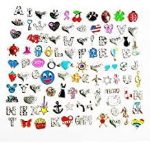 100 Pcs Mixed Random Floating Charms for Glass Living Memory Lockets Origami Owl Lockets DIY Wholesale Gold and Silve (100 PCS, Model 1)