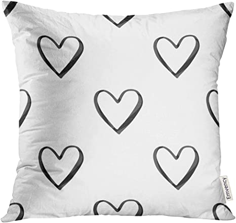 Upoos Throw Pillow Cover Love Valentine S Day With Black Watercolor Heart Outlines On White 14th Decorative Pillow Case Home Decor Square 16x16 Inches Pillowcase Home Kitchen