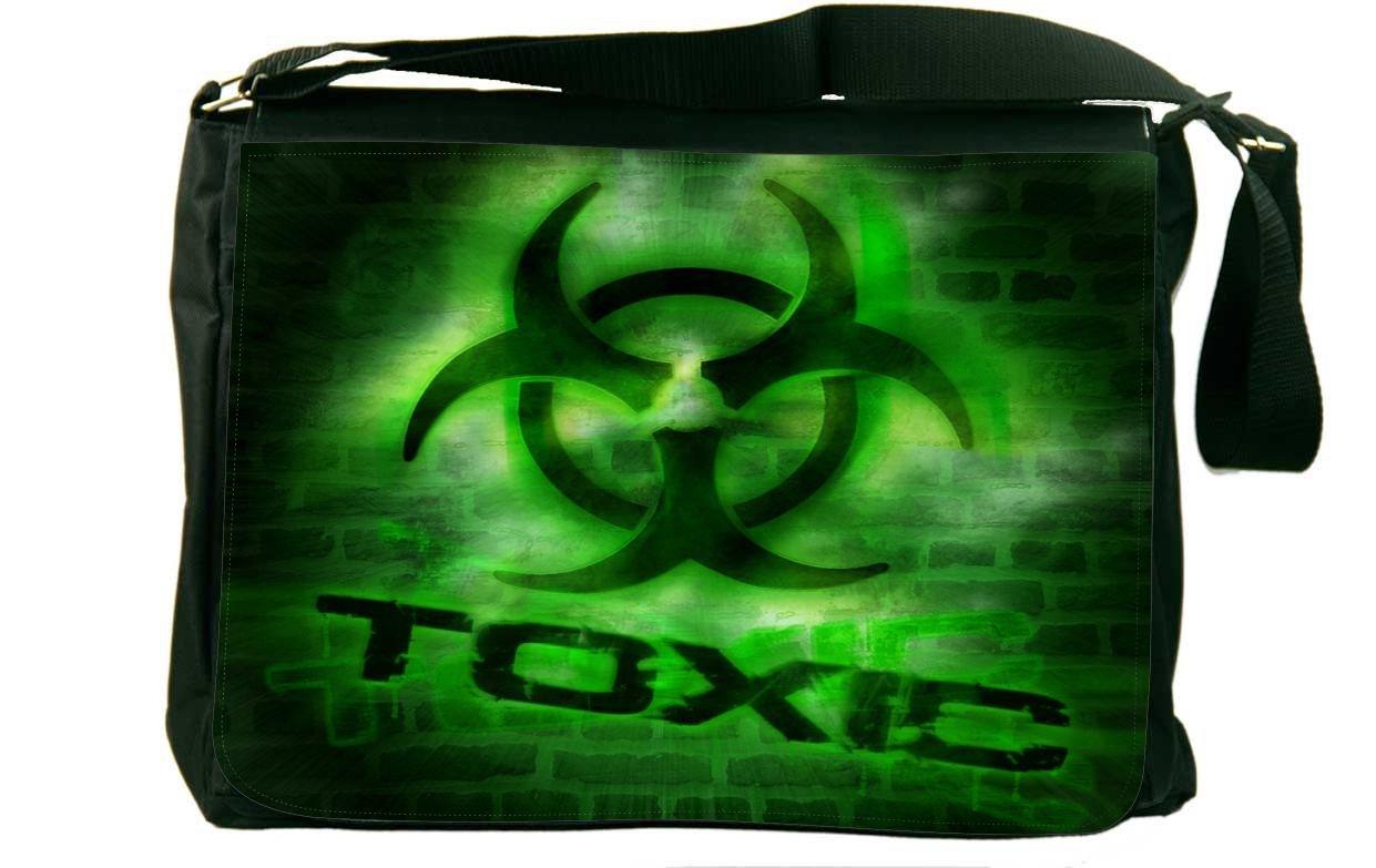 Rikki Knight Green Toxic Warning Messenger Bag School Bag