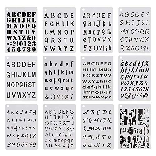 12 Sheets Alphabet and Number Stencils Letter Template Set for Journaling Painting DIY Crafts Creation Home Decor Kids Education Tool, No Art Skills Required