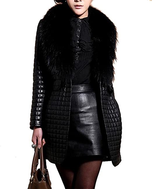 hot sale online 52f21 8742e cooshional Cappotto Elegante Donna Giacca Antivento in Pelle ...
