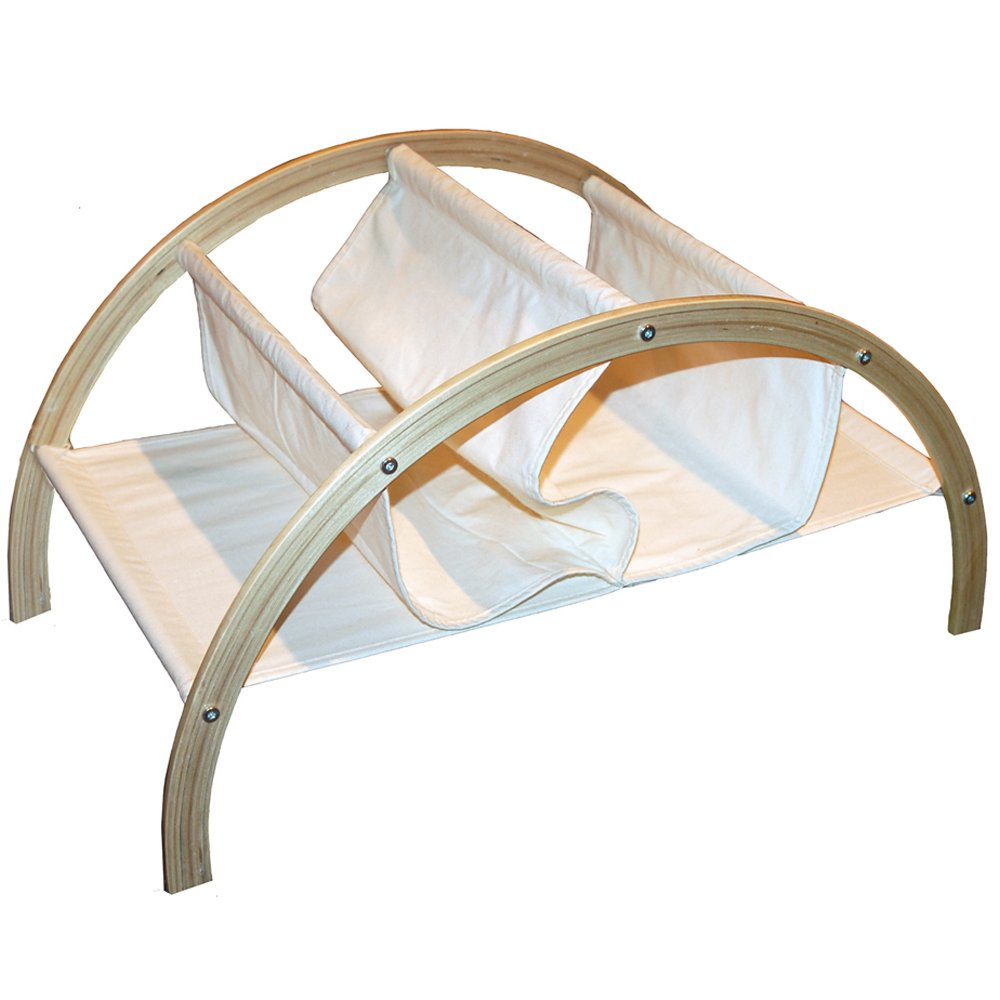 BRIDGE - Solid Wood + Natural Canvas Large Magazine Rack - Birch