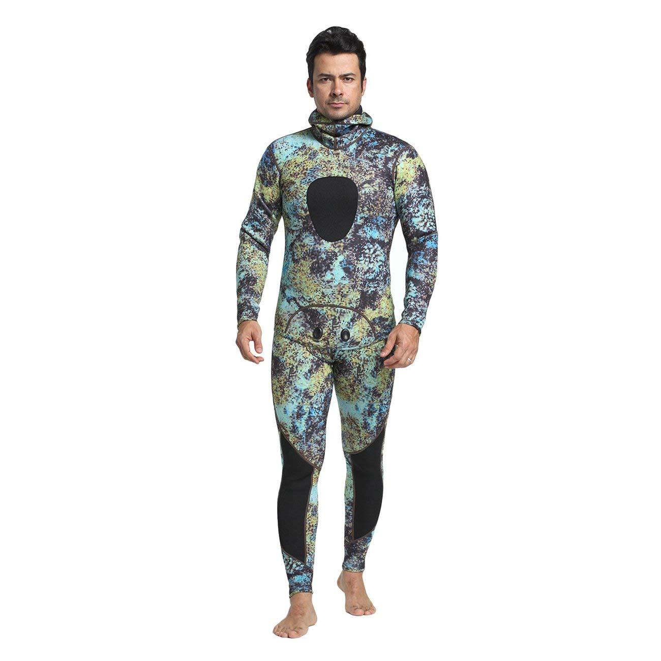 LasVogos 2 piezas de Hombres buceo Con Traje de neopreno de 3 mm de Pesca submarina de Traje de Surf Traje de baño del tubo respirador
