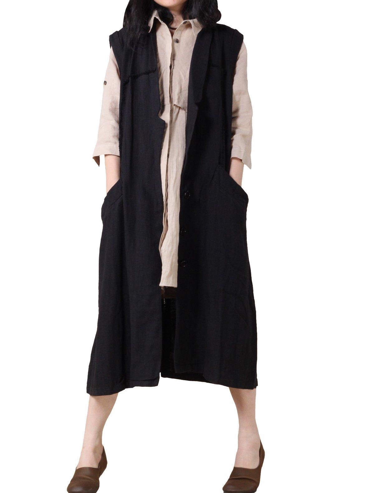 Mordenmiss Women's New Loose Sleeveless Vest Coat Style 1-M-Black
