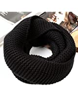Unisex Winter Warm Knitted Thicken Neckerchief Knit Infinity Neck Long Scarf Shawl Soft Warm Scarves for Men and Women (Black)
