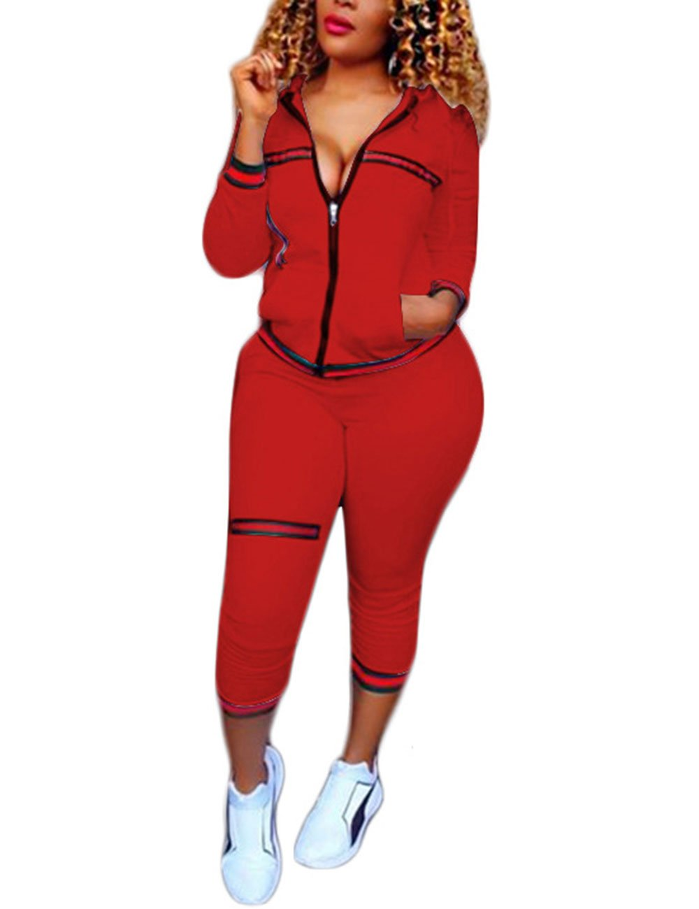Akmipoem Women's 2 Pieces Outfits Long Sleeve Zipper Jacket and Pants Sweatsuits Tracksuits