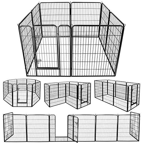 ZENY Foldable Metal Exercise Pen & Pet Playpen Puppy Cat Exercise Fence Barrier Playpen Kennel - 8 Panels (31.5