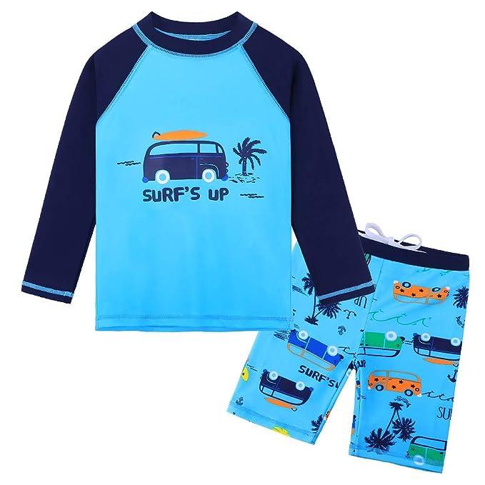 d6151856948c3 HUANQIUE Baby Toddler Boy Swimsuit Rashguard Set UPF 50+ Swimwear Car 0-6  Months