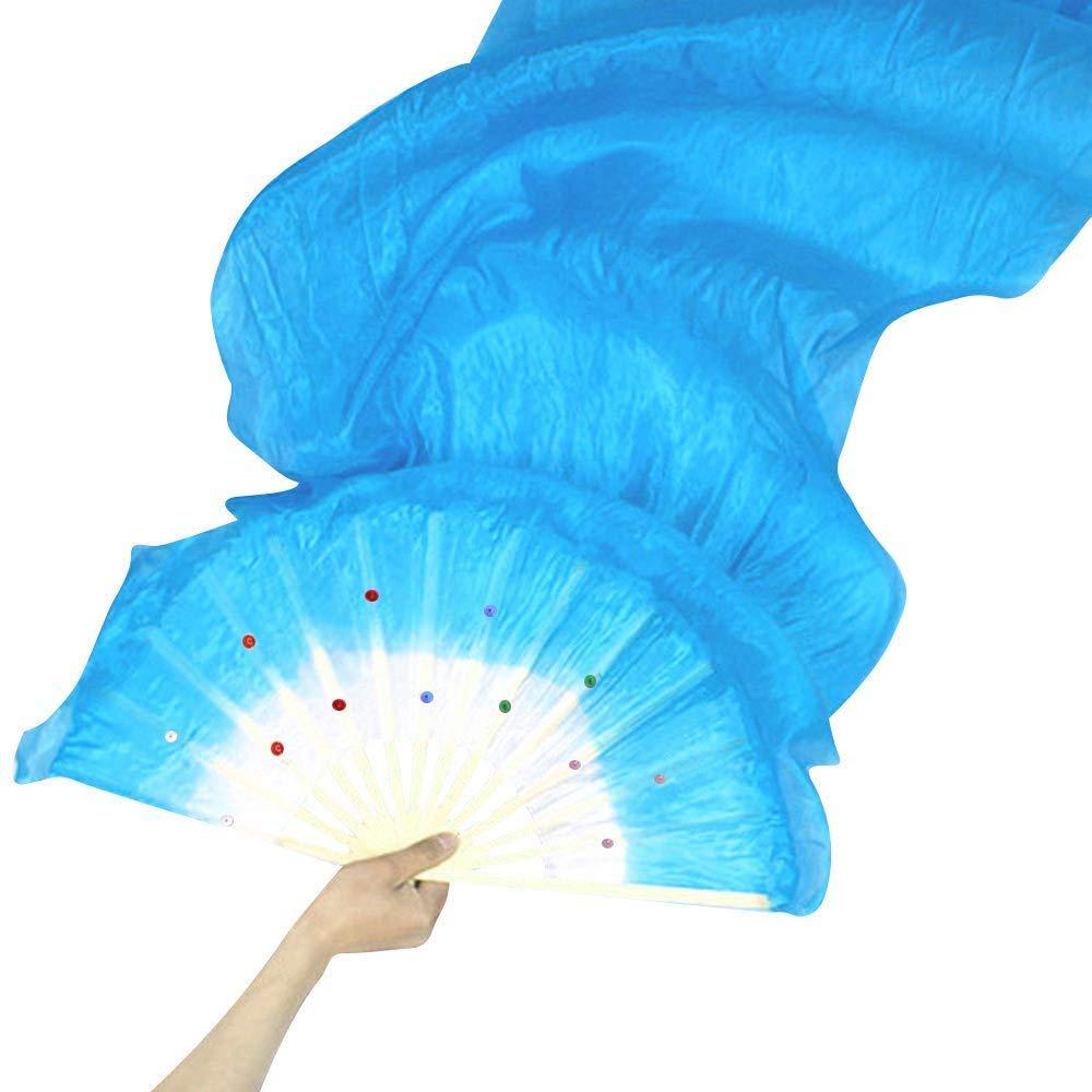 WEISIPU 1 Pair 1.8m Raks Sharki Belly Dancing Silk Fans Chinese Hand Made Bamboo Veils Long Fans(Blue)