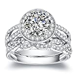 VAN RORSI&MO 2.0ct Round Engagement Wedding Ring Set for Women 18K Gold Plated Sterling Silver Bridal Set Size 7