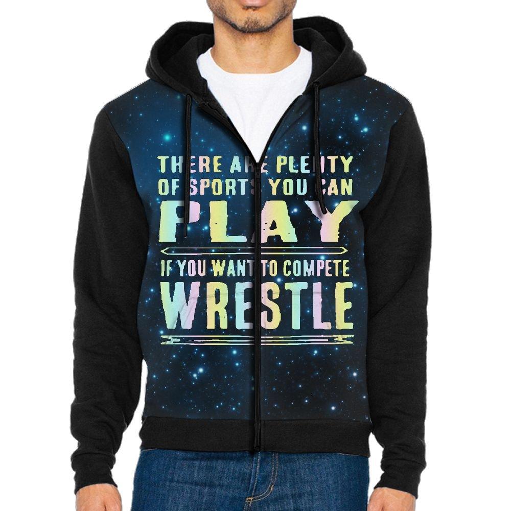 Funny Wrestling Athletics Men's Zip-Front Hoodie Sweatshirt With Drawstrings M by Papar